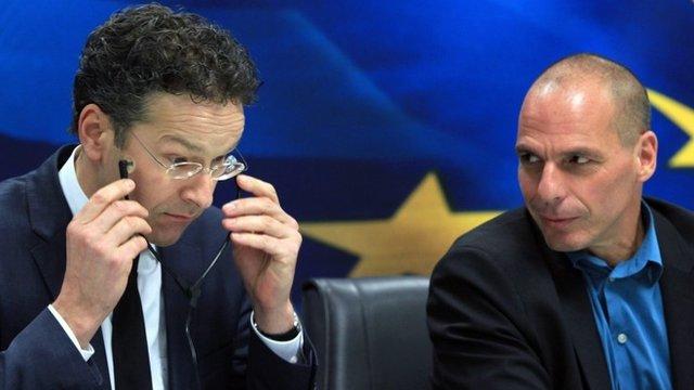 Jeroen Dijsselbloem and Yanis Varoufakis at a press conference