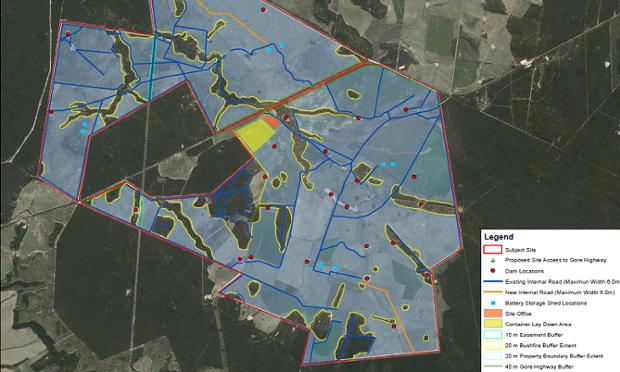 A map of the proposed Bulli Creek solar farm.