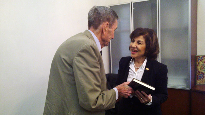 Presidential Adviser, Dr. Bouthaina Shaaban (R) with former Attorney-General Ramsey Clark (Photo by Eva Bartlett)