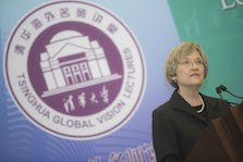 "Harvard President Drew Faust delivers the Tsinghua Global Vision Lecture, ""Universities and the Challenge of Climate Change"" at Tsinghua University in Beijing, China."
