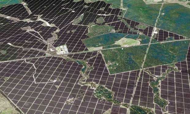 A computer generated image of the proposed solar farm.