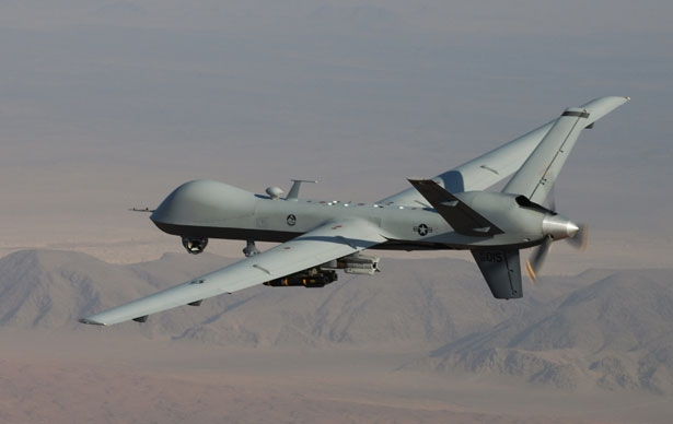 A U.S. drone flies over southern Afghanistan during a combat mission. (AP Photo/Lt. Col.. Leslie Pratt, US Air Force)