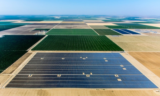 A 20MW solar farm constructed on land in California's central valley – the Bulli Creek solar farm would be 100 times as large as this installation. Photograph: Proehl Studios/Corbis