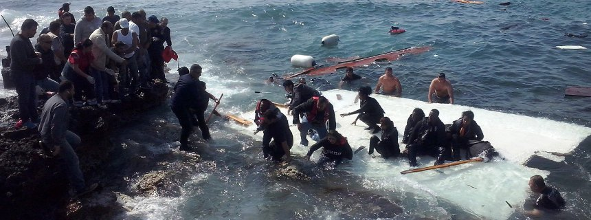 Migrants arrive at Rhodes island in Greece after narrowly escaping catastrophe on Monday, 20 Apr 2015. The bodies of several victims were recovered during the rescue operation. DPA