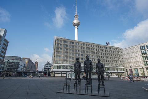 """Anything to Say?"" Sculptures of Edward Snowden, Julian Assange and Bradley Manning in Berlin's Alexanderplatz"