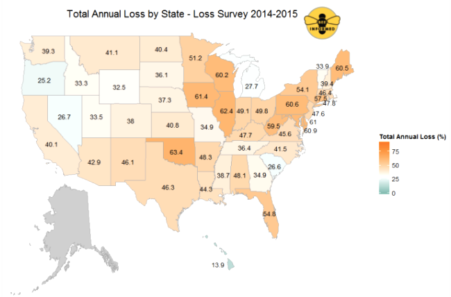 Total annual loss percentage by state. Photo Credit: Bee Informed