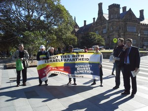 A protest at the University of Sydney demands it cut ties with Israeli institutions.