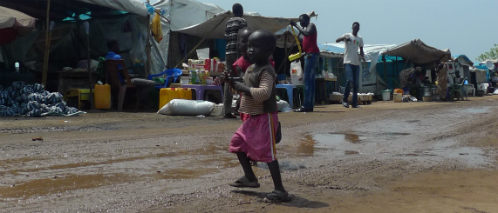 Young children with toy guns, Tomping Protection of Civilians Site, Juba, South Sudan, July 2014.