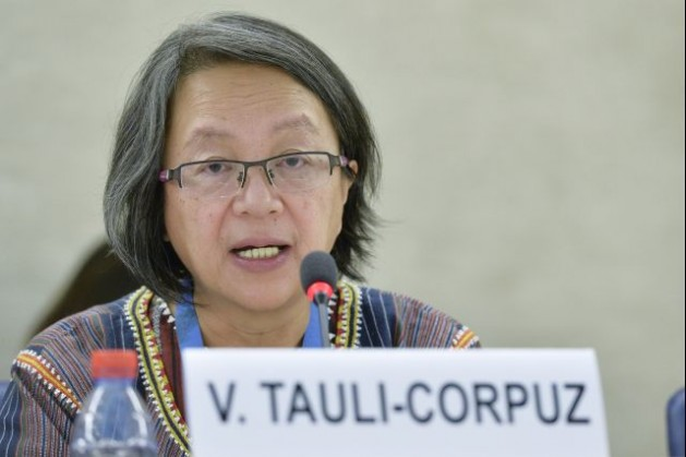 Victoria Tauli-Corpuz, UN Special Rapporteur on the rights of indigenous peoples, addresses the Human Rights Council panel discussion on human rights and climate change on March 6, 2015. Credit: UN Photo/Jean-Marc Ferré