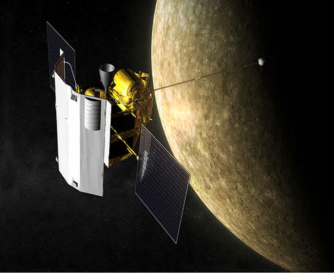 Artist depiction of Messenger in orbit around Mercury. Credit: NASA/JHUAPL/CIW