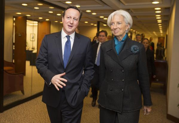 IMF Chief Christine Lagarde (seen here with UK Prime Minister David Cameron) is a regular participant at the secretive Bilderberg meeting, an annual gathering of some of the most powerful and influential figures in the world, reinforcing without accountability the dominance of a transatlantic capitalist cabal [Image: IMF]
