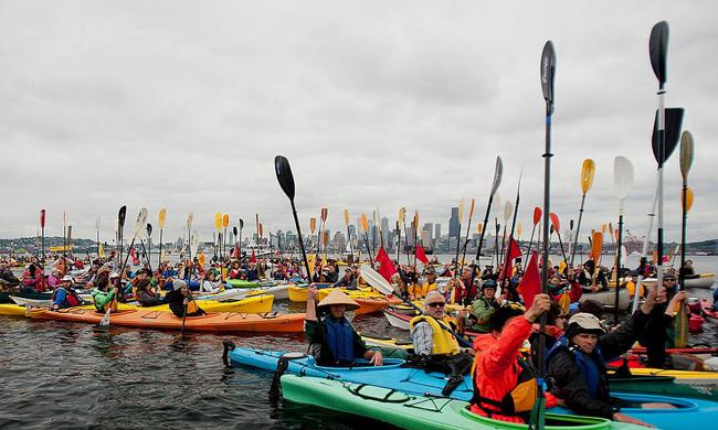 Paddle in Seattle kayak Floatilla. Photo by Backbone Campaign / Flickr.