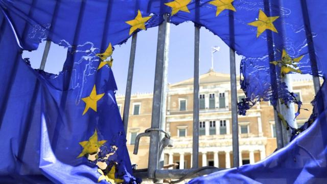 eu flag greece debt greek