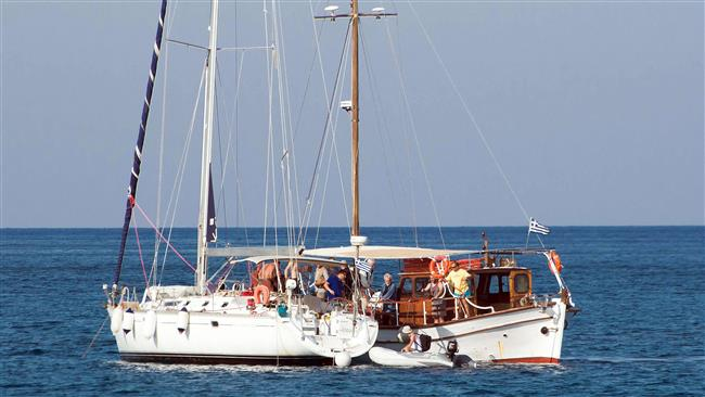 Freedom Flotilla III leaves Greece on June 26, 2015 in a bid to break the Israeli blockade of the Gaza Strip. (AFP photo)