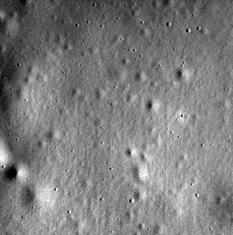Though Messenger was slated to last only a year, it exceeded expectations and stayed in Mercury's orbit for over four years. This is the spacecraft's last image transmitted back to Earth. Credit: NASA/JHUAPL/CIW