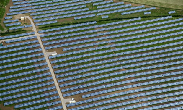 Solar farm in Milton Keynes, Buckinghamshire, UK. Photograph: Alamy