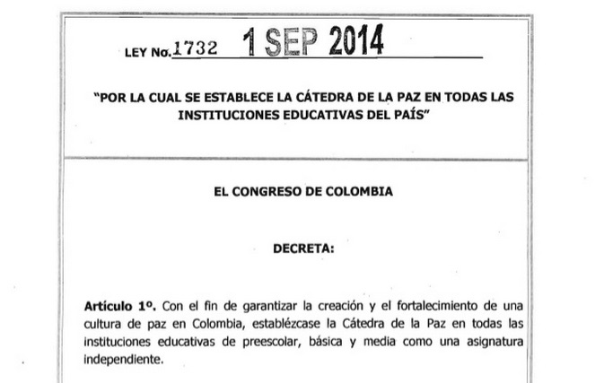 colombia teaching peace law