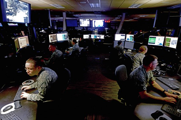 Military personnel in the Air Force Distributed Common Ground System (US Air Force photo)