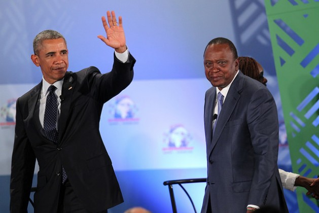 Presidents Barack Obama and Uhuru Kenyatta wave to delegates at the Opening Plenary at the Global Entrepreneurship Summit, in Nairobi, Kenya on July 25, 2015. Credit: U.S. Embassy Nairobi