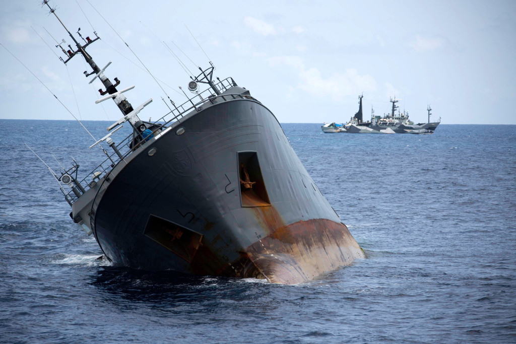 The Thunder, a trawler wanted for illegal fishing, was chased for 110 days and more than 10,000 nautical miles across two seas and three oceans, until it sank in April. CreditSimon Ager/Sea Shepherd Global