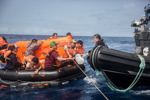 The Thunder's crew was rescued in the Atlantic and taken on board the Sam Simon.CreditJeff Wirth/Sea Shepherd Global