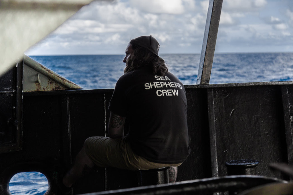 Alistair Allan, the bosun on the Bob Barker, on the ship's deck. The Bob Barker never left the trail of the poacher during the chase. CreditSelase Kove-Seyram for The New York Times