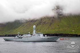 The Danish Navy vessel, HDMS Triton attempts to block the view of the arrest of the Sea Shepherd crew from the Sam Simon. Photo: Sea Shepherd/Iraultza Izquierdo
