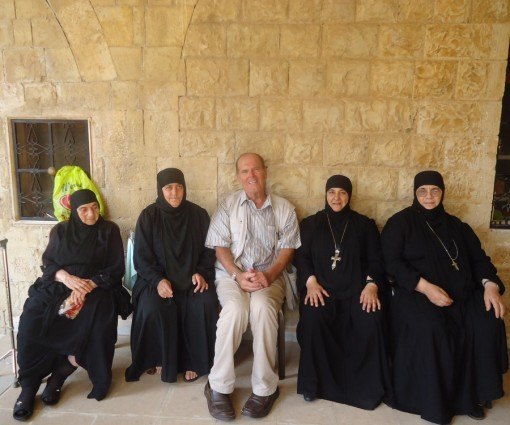 The freed Nuns of Ma'loula temporarily working at St. George Monastary at the entrance of Wadi al Nasara waitng to return to Mar Takla monastery and their orphanage in Ma'loula (photo 8/4/2015 N. Makhoul).