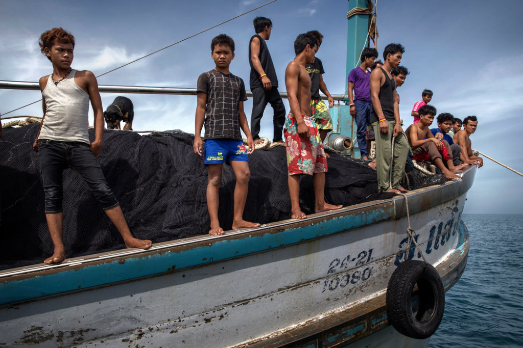 The crew on the Thai fishing boat included two dozen Cambodian boys, some as young as 15. Credit Adam Dean for The New York Times