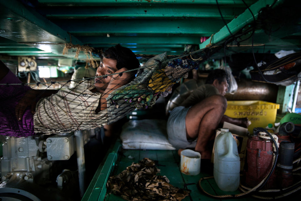 The living quarters on the fishing boats are typically cramped and the men sleep for short periods between hours of work. Credit Adam Dean for The New York Times