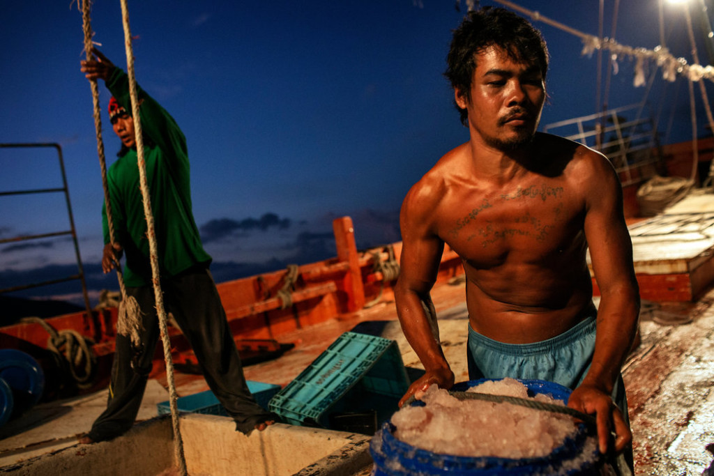 """Migrant workers unloaded barrels of fish at the docks in Songkhla. """"Motherships"""" bring the catch to shore so that the trawlers can stay at sea. Credit Adam Dean for The New York Times."""