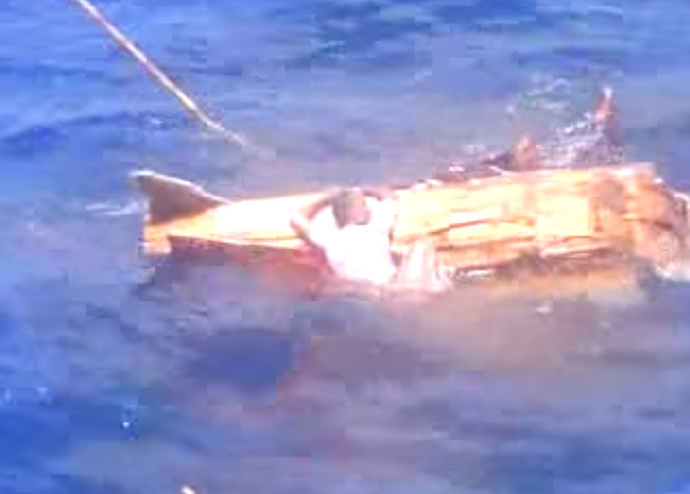 Image from footage of murder at sea, found on a cellphone camera in Fiji.