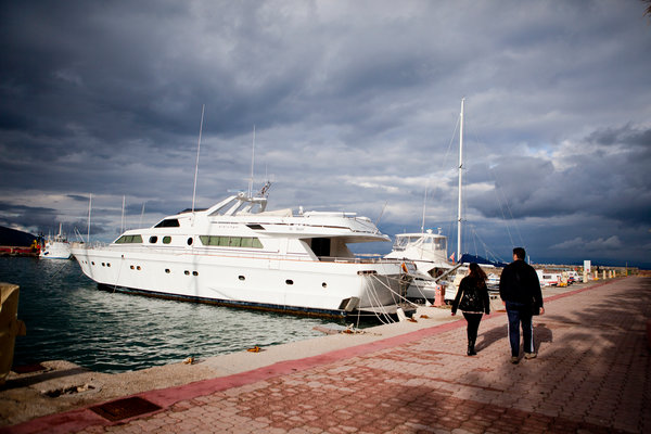 George Kallimasias's yacht, Something Wild, in the port of Chios, Greece. Credit Eirini Vourloumis for The New York Times Photo