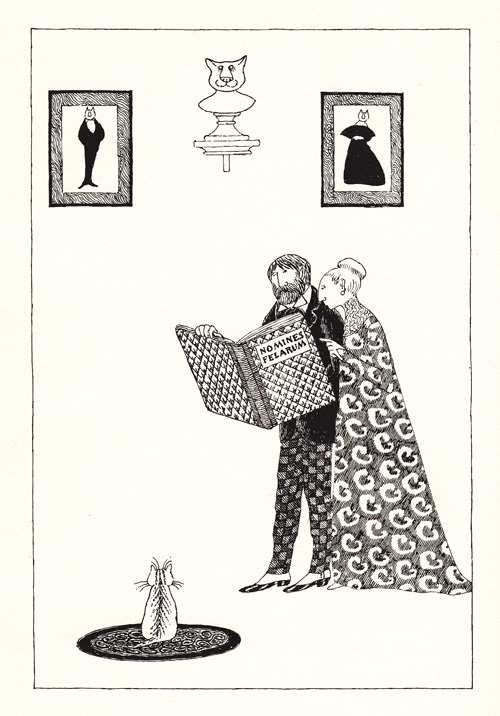Illustration by Edward Gorey from 'Old Possum's Book of Practical Cats' by T.S. Eliot.