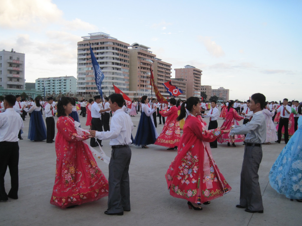 Mass dancing in Chongjin on the national holiday.