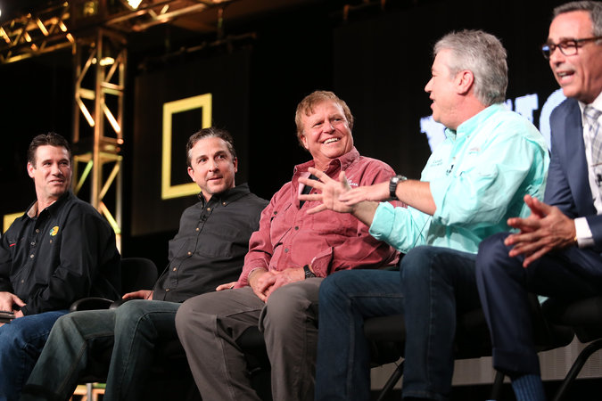 """A panel discussion of """"National Geographic Channel - Wicked Tuna"""" at a TV critics event in 2014. Credit Frederick M. Brown/Getty Images"""
