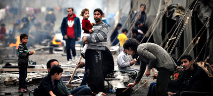 Syrian refugees' camp. (photo: Nikolay Doychinov/AFP/Getty)