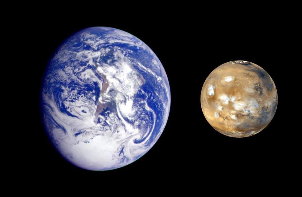 This composite image of Earth and Mars was created to allow viewers to gain a better understanding of the relative sizes of the two planets. mars.nasa.gov