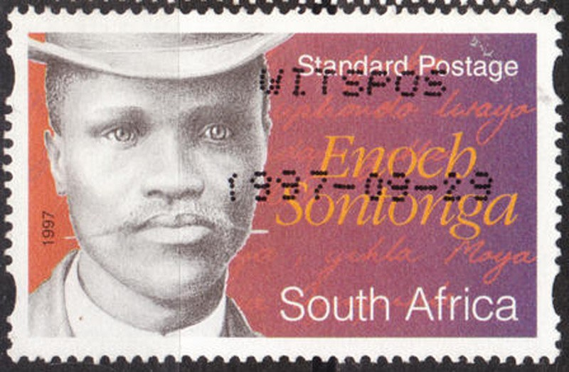 Enoch Sontonga, composer of Nkosi Sikelel' iAfrika (God Bless Africa) on a post stamp – Public Domain