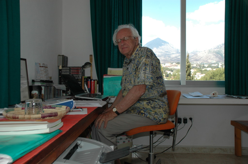 Prof. Galtung in his house in L'Alfàs del Pi, Alicante, Spain.