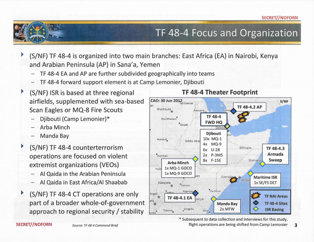 A slide from a classified Pentagon study outlines the air and naval assets of the secret task force charged with hunting down, killing, and capturing high-value individuals in Somalia and Yemen.