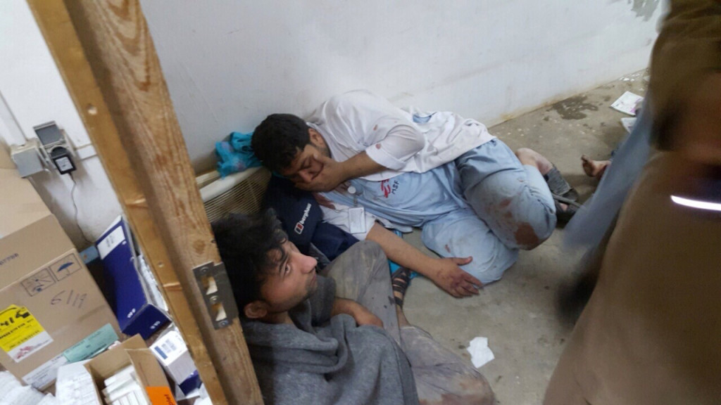 A handout provided by Medecins Sans Frontieres shows MSF staff in shock in one of the remaining parts of the hospital in Kunduz in the aftermath of the bombings, Kunduz, Afghanistan, October 3, 2015.