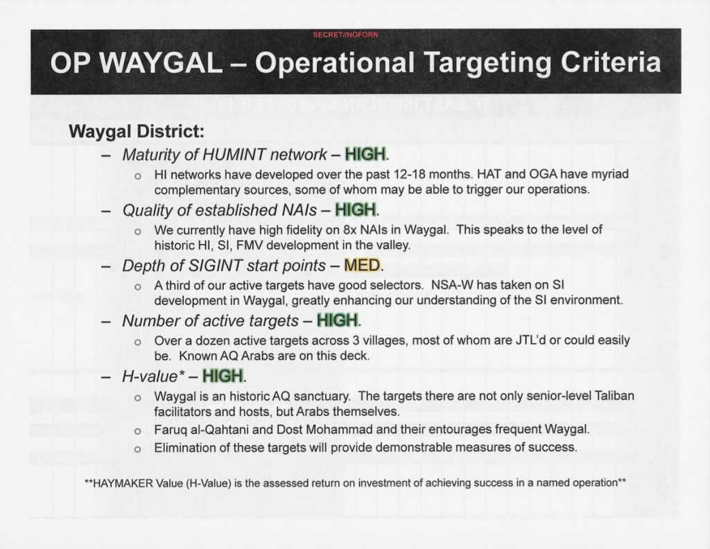 "A slide reporting a robust presence of human intelligence sources (HUMINT or HI) in the district of Waygal, a ""historic"" al Qaeda sanctuary in northeastern Afghanistan."