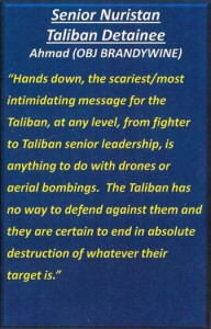 A quote attributed to an alleged Taliban detainee describes the psychological impact of living under the threat of U.S. airstrikes.