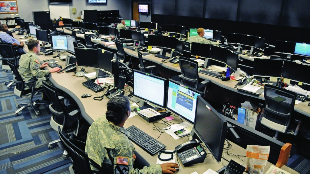 Cyber and military intelligence specialists monitor Army networks in the Cyber Mission Unit's Cyber Operations Center at Fort Gordon, Georgia. Photo: U.S. Army Cyber Command