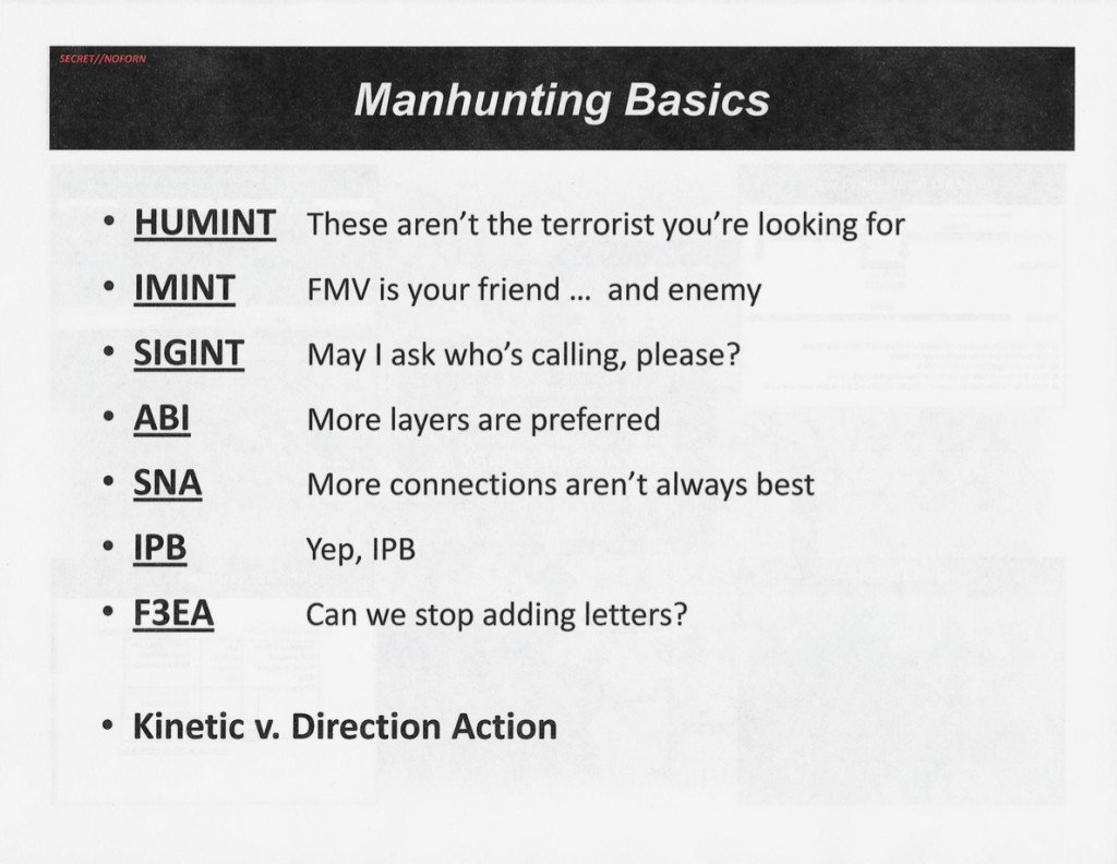 "A slide on ""Manhunting Basics"" takes a lighthearted approach to the core mission of the Haymaker campaign: finding and killing specific individuals. ABI = Activity Based Intelligence; F3EA = Find, Fix, Finish, Exploit, Analyze; HUMINT = Human Intelligence; IMINT = Imagery Intelligence; IPB = Intelligence Preparation of the Battlespace; SIGINT = Signals Intelligence; SNA= Social Network Analysis"