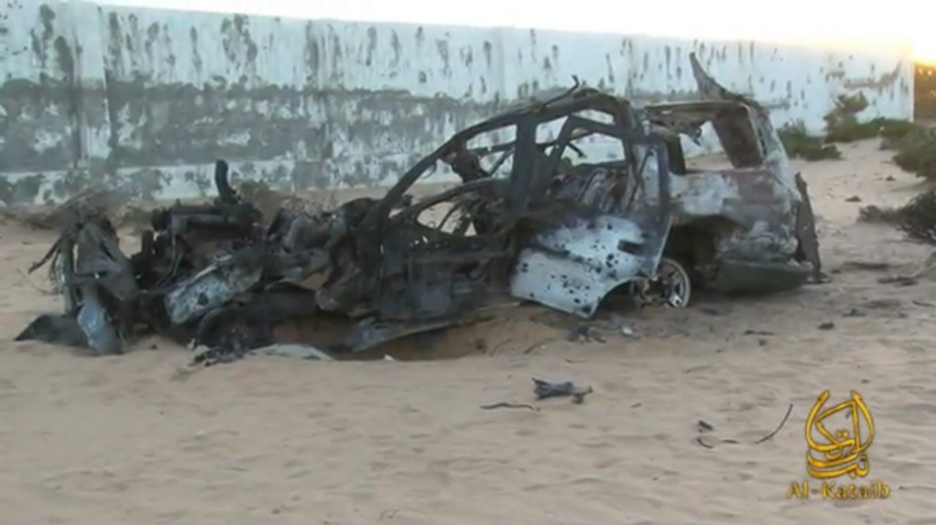 A video produced by al Shabaab purports to show Berjawi's mangled vehicle in the aftermath of the drone strike that killed him on Jan. 21, 2012.
