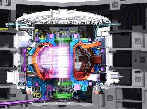 This is an illustration of a tokamak with plasma. Credit: ITER Organization