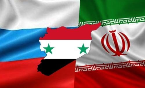 russian iranian syrian flags