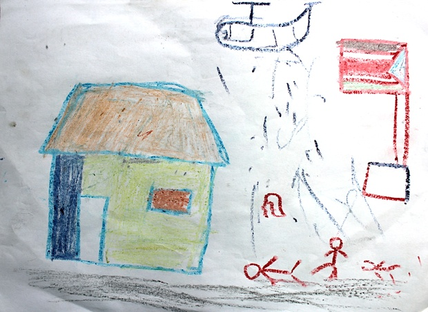 A drawing by a child at the IDP camp in Malakal, showing his experiences. Photograph: Unicef